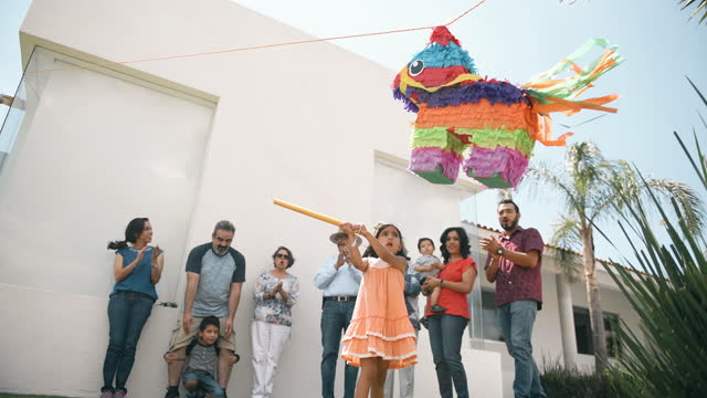 mexican family celebrating a birthday - party social event stock videos & royalty-free footage