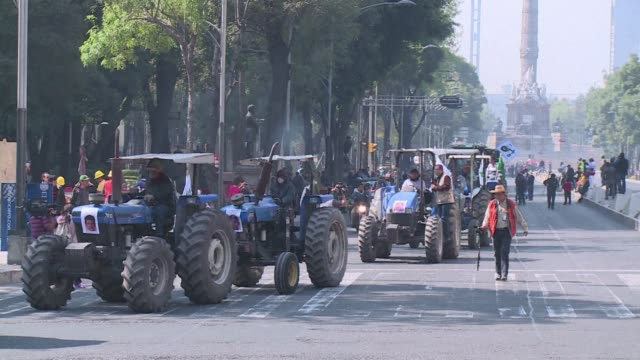 vídeos de stock, filmes e b-roll de mexican farmers took the streets friday in mexico city blocking the main avenue of the capital with their tractors to protest against the apparent... - méxico central