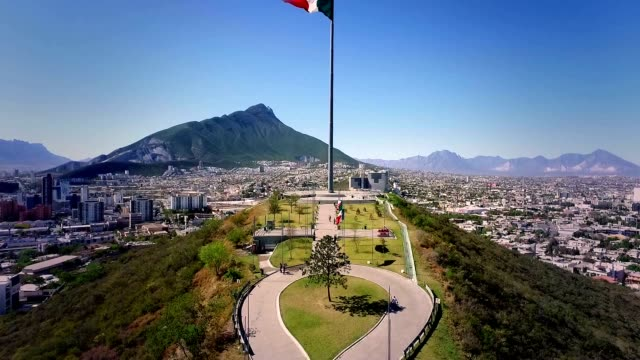 mexican flag in obispado - mexico stock videos & royalty-free footage