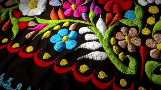 mexican flowers textile - north american tribal culture stock videos & royalty-free footage
