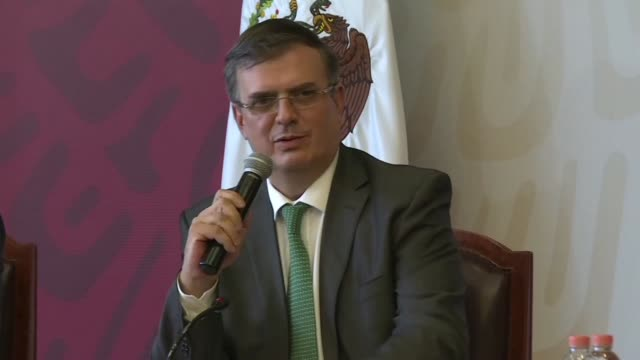 mexican foreign minister marcelo erbrad holds press conference after mexico said it has launched a committee to implement its deal with the united... - tariff stock videos & royalty-free footage