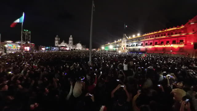mexican independence festivity el grito in the zocalo - bribing stock videos & royalty-free footage