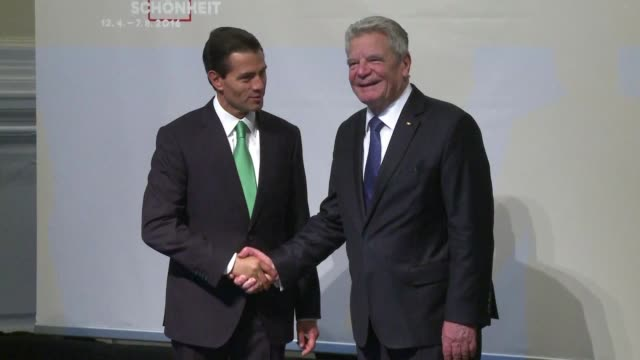 mexican president enrique pena nieto begins a state visit to germany with an exhibition on mayans in berlin with his german counterpart joachim gauck - latin american civilizations stock videos and b-roll footage