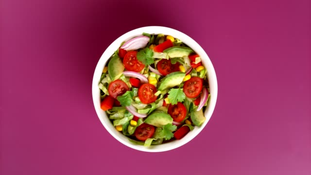 mexican salad studio shot. - table top view stock videos & royalty-free footage