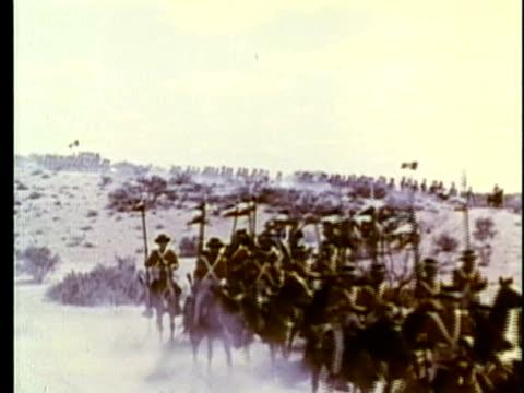 stockvideo's en b-roll-footage met 1963 reenactment ws mexican troops in convoy / 1840s republic of texas / audio - manifest destiny