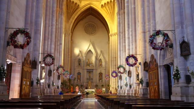 mexico arandas st joseph church interior view - altar stock videos & royalty-free footage