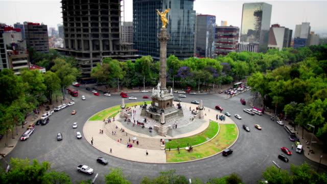 vídeos de stock, filmes e b-roll de cidade do méxico, anjo da independência - monumento da independência paseo de la reforma