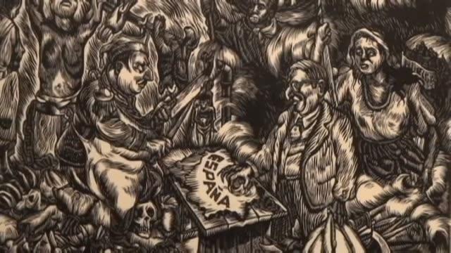 vídeos de stock, filmes e b-roll de paula escalada medrano francisco franco with a butcher knife slashing spain a twoheaded monster with the heads of adolf hitler and benito mussolini... - benito mussolini