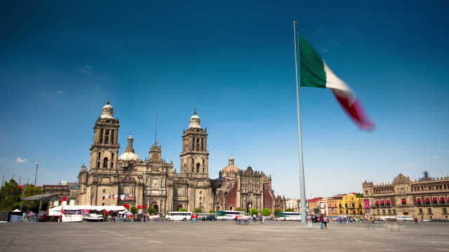 zeitraffer: kathedrale von mexico city - mexiko stock-videos und b-roll-filmmaterial