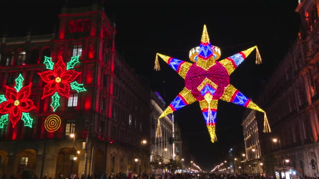 mexico city christmas street decorations - papier stock videos & royalty-free footage