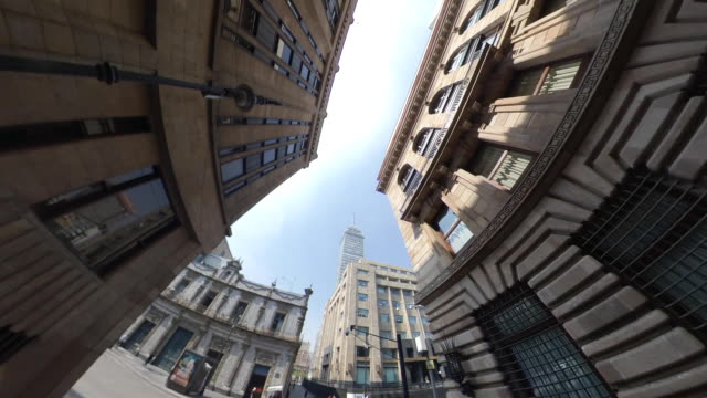 mexico city downtown street looking up - torre latinoamericana stock videos & royalty-free footage