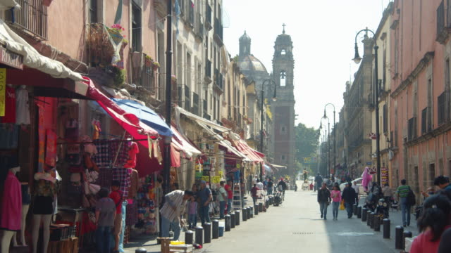 mexico city establishing shot. pedestrian walkway andador emiliano zapata with santisima trinidad church on the foreground. cdmx - mexican ethnicity stock videos & royalty-free footage