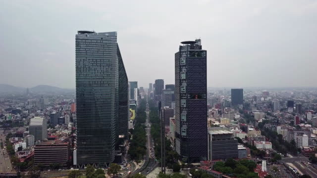 mexico city paseo de la reforma skyscrapers aerial view - avenue stock videos & royalty-free footage