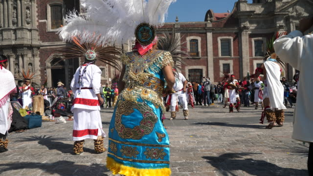 mexico city, the revelation day of guadalupe and the biggest pilgrimage of the christian world,group of dancers with traditional dress performing religious ceremonies in front of guadalupe shrine. - religious dress stock videos & royalty-free footage