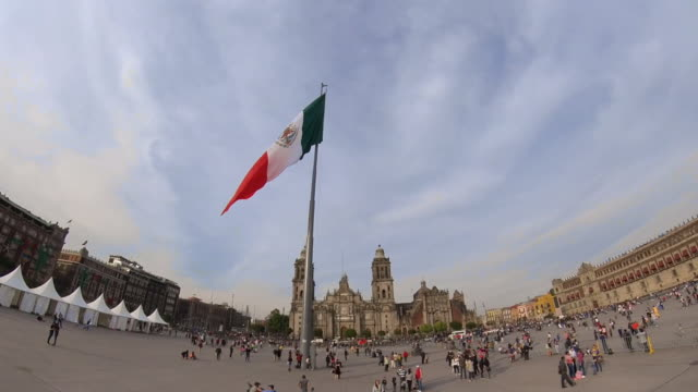 mexico city zocalo and cathedral - zocalo mexico city stock videos & royalty-free footage
