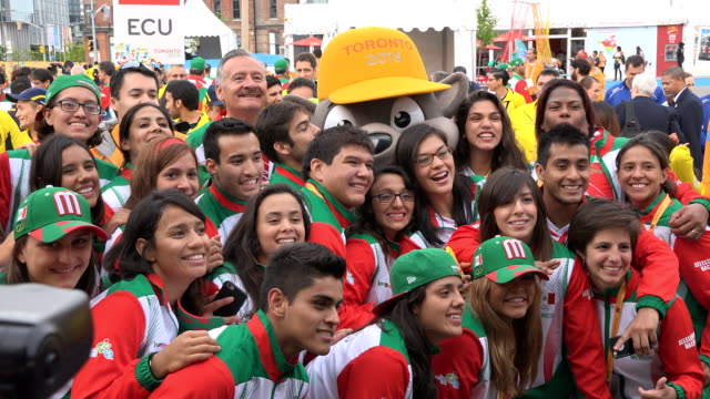 stockvideo's en b-roll-footage met mexico delegation or athletes scenes during toronto panam games the country representation is welcome in the athletes' village the pan american games... - redactioneel