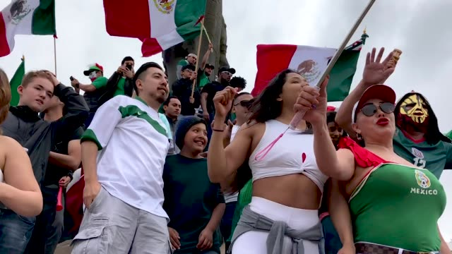 Mexico fans celebrate their World Cup victory over South Korea on June 23 2018 in Tijuana Mexico