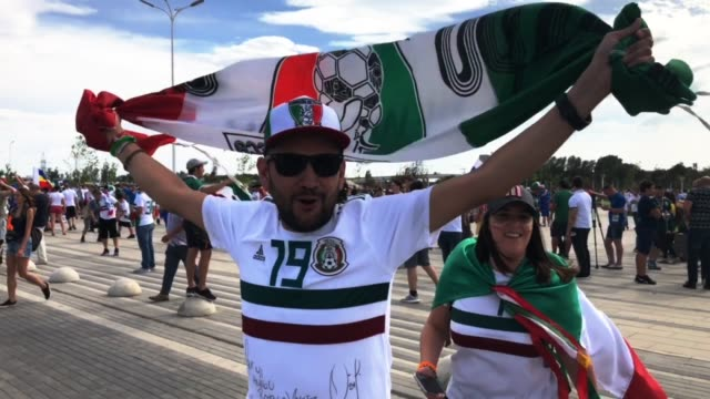Mexico fans enjoy the pre match atmosphere at 2018 FIFA World Cup Russia group F match between Korea Republic and Mexico at Rostov Arena on June 23...