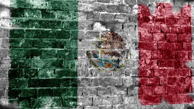 Mexico Flag Grunge Wall. 4k