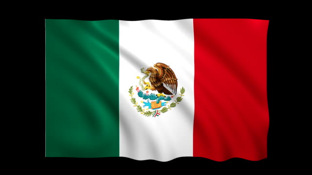 mexico flag loopable alpha included - stock video - satin stock videos & royalty-free footage
