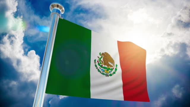 stockvideo's en b-roll-footage met 4k-mexico vlag   loop bare stock video - paalzitten