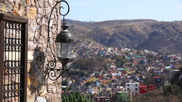 Mexico Guanajuato city beyond light fixture