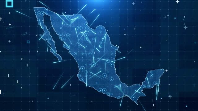 mexico map connections full details background 4k - climate map stock videos & royalty-free footage