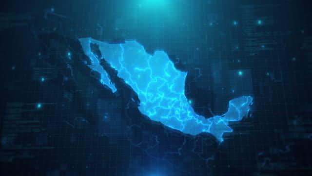 vídeos de stock e filmes b-roll de mexico map with states against blue animated background 4k uhd - méxico