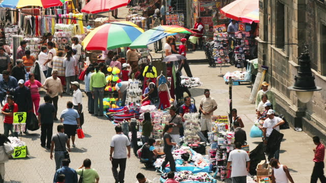 t/l, ha, ms, mexico, mexico city, people on street market calle moneda - street market stock videos & royalty-free footage