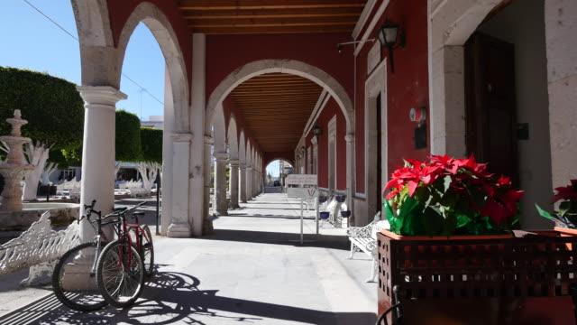 vídeos de stock, filmes e b-roll de mexico san julian flowers and bicycles - arco característica arquitetônica