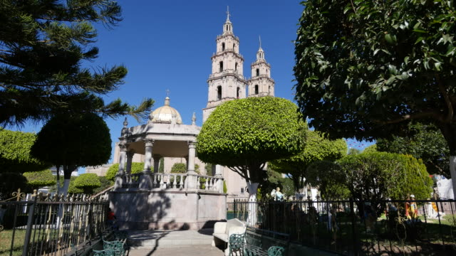 mexico santa maria del valle church and plaza with bandstand - bandstand stock videos and b-roll footage