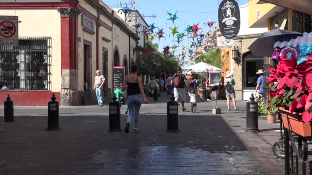 mexico tlaquepaque poinsettias and people - papier stock videos & royalty-free footage