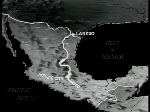 map mexico w/ white line connecting laredo mexico city panama canal - panama canal stock videos & royalty-free footage