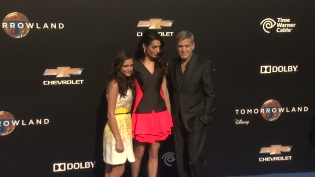 Mia Alamuddin George Clooney and Amal Alamuddin at the 'Tomorrowland' Los Angeles Premiere at AMC Downtown Disney 12 Theater on May 09 2015 in...