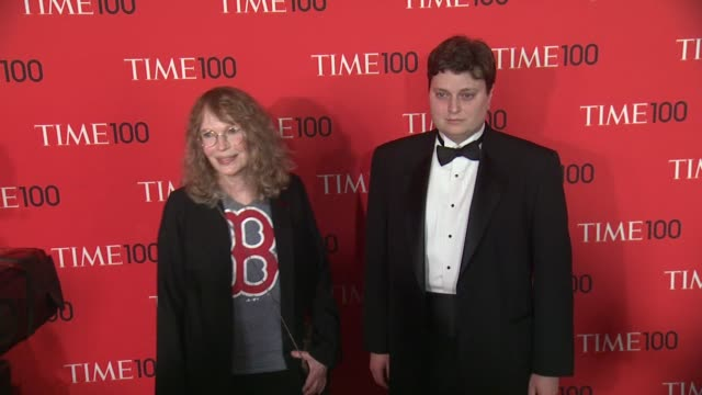 mia farrow and son fletcher at 2013 time 100 gala arrivals at frederick p rose hall jazz at lincoln center on april 23 2013 in new york new york - mia farrow stock videos & royalty-free footage