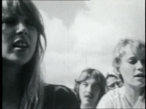 mia farrow singing while the beatles play on an indian beach / india - mia farrow stock videos & royalty-free footage