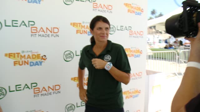 mia hamm at leapfrog fit made fun day with legendary soccer star mia hamm in los angeles ca - leapfrog stock videos & royalty-free footage