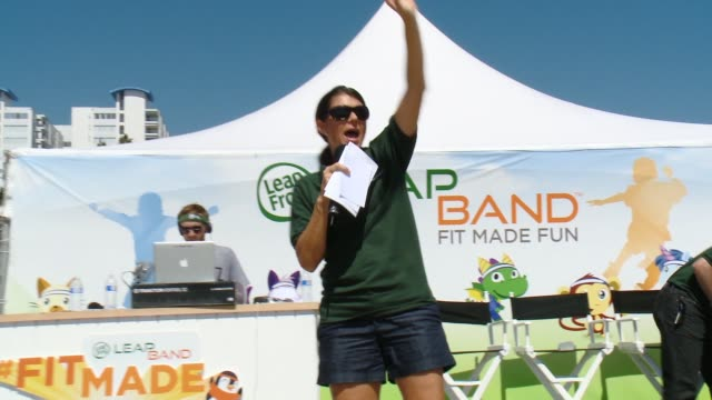 speech mia hamm at leapfrog fit made fun day with legendary soccer star mia hamm in los angeles ca - leapfrog stock videos & royalty-free footage