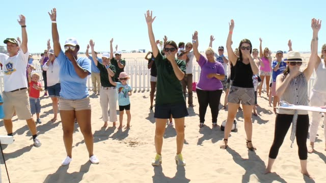 mia hamm, greg ahearn at leapfrog fit made fun day with legendary soccer star mia hamm in los angeles, ca 9/6/14 - leapfrog stock videos & royalty-free footage