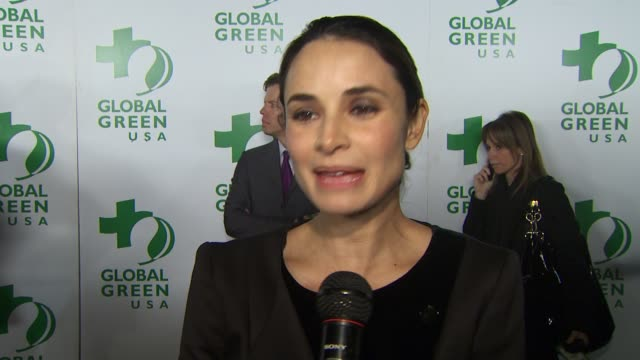 mia maestro on singing tonight and being a part of the evening, living a green lifestyle, why she supports global green at the global green usa's 7th... - oscar party stock videos & royalty-free footage