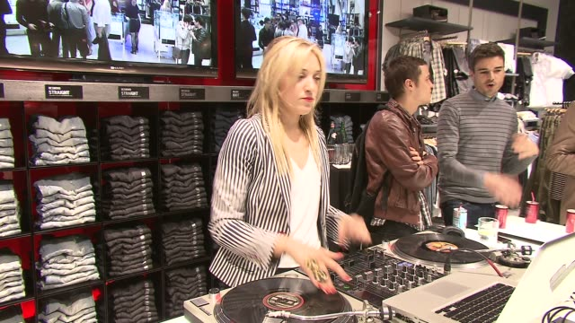 dj mia moretti at the guess and vanity fair celebrate the grand opening of the new 5th avenue flagship store with live performance by jessie j at new... - store opening stock videos & royalty-free footage