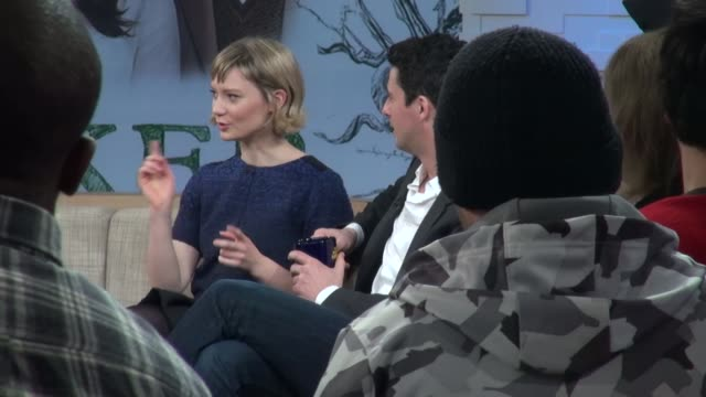 mia wasikowska and matthew goode being interviewed on the set of good morning america in new york ny on 2/28/13 - matthew goode stock videos & royalty-free footage