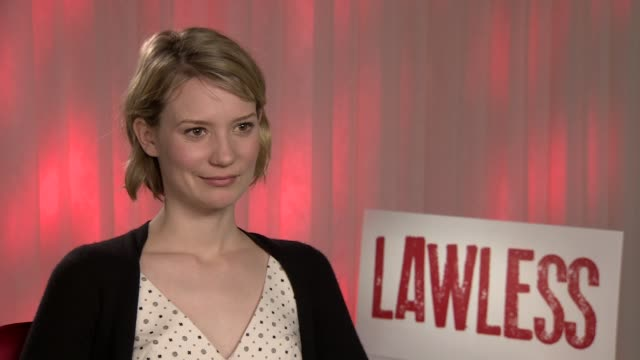 mia wasikowska on her character, working with shia labeouf at lawless interviews: 65th cannes film festival on may 20, 2012 in france - shia labeouf stock videos & royalty-free footage