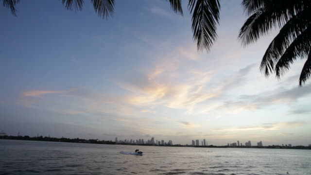 miami and jet ski at sunset - biscayne bay stock videos & royalty-free footage