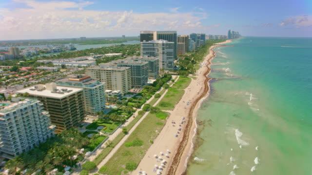 aerial miami beach, fl in sunshine - miami beach stock videos & royalty-free footage