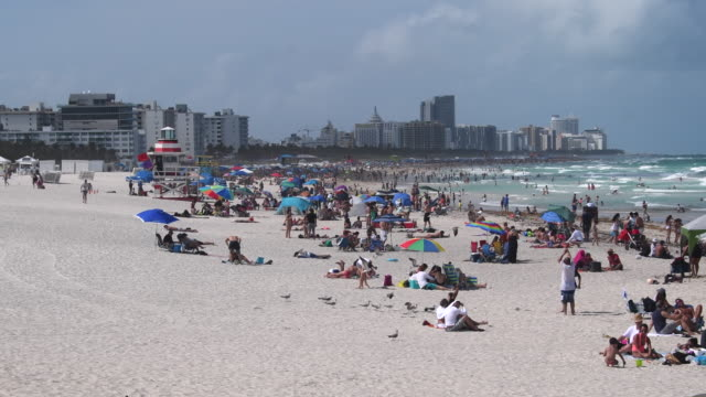Miami Beach, Florida: establishing shot of the landmark with real people and city skyline during a weekend. The tropical beach features blue water and white sand