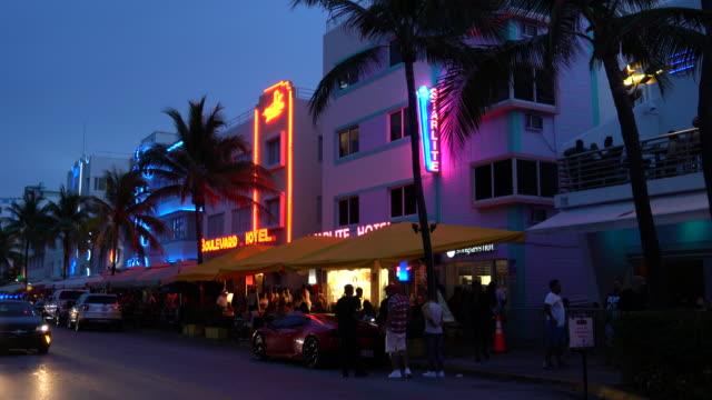 Miami Beach. South Beach. Ocean Drive at night.