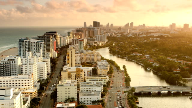 stockvideo's en b-roll-footage met miami beach zonsondergang panorama - miami