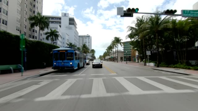 miami beach xiii synced series rear view driving process plate - other stock videos & royalty-free footage