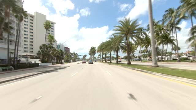 miami beach xx synced series rear view driving process plate - car point of view stock videos & royalty-free footage
